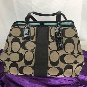 Black and grey Coach tote